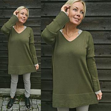 genser-v-hals-lang-oliven