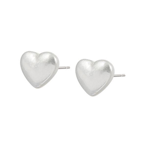 studs-hjerte-matt-sølv