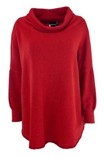 poncho-genser-rød