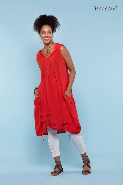 kjole-med-hette-oransje